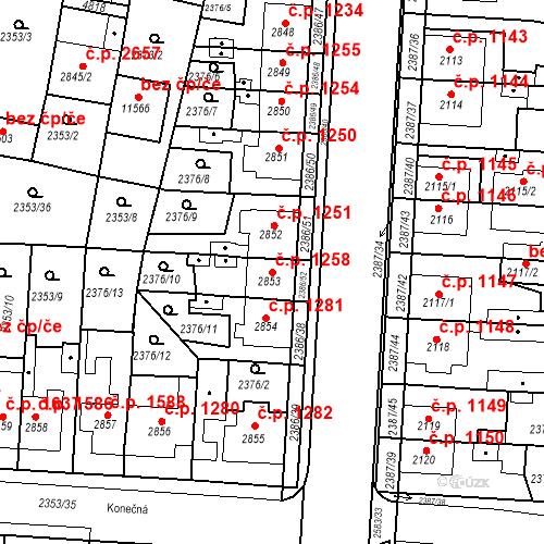 Katastrální mapa Stavební objekt Zelené Předměstí 1258, Pardubice