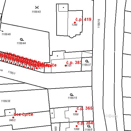 Katastrální mapa Stavební objekt Chrudim IV 383, Chrudim