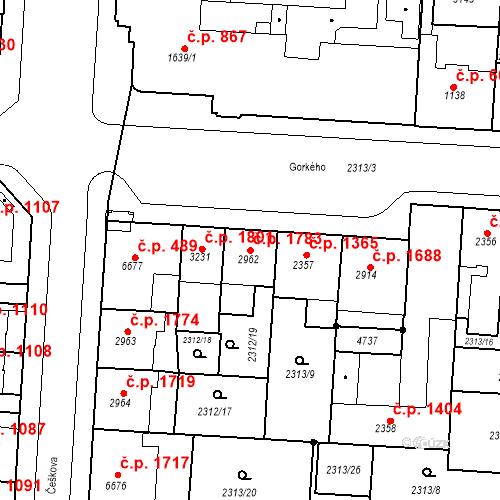 Katastrální mapa Stavební objekt Zelené Předměstí 1783, Pardubice