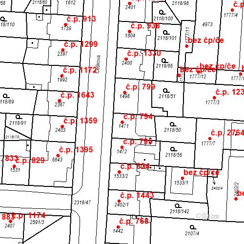 Katastrální mapa Stavební objekt Zelené Předměstí 794, Pardubice