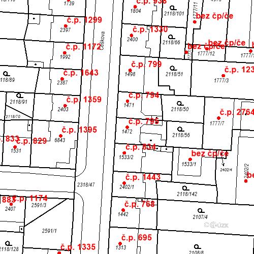 Katastrální mapa Stavební objekt Zelené Předměstí 795, Pardubice