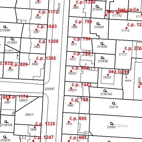 Katastrální mapa Stavební objekt Zelené Předměstí 834, Pardubice