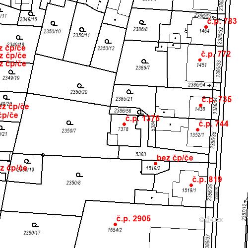 Katastrální mapa Stavební objekt Zelené Předměstí 1376, Pardubice