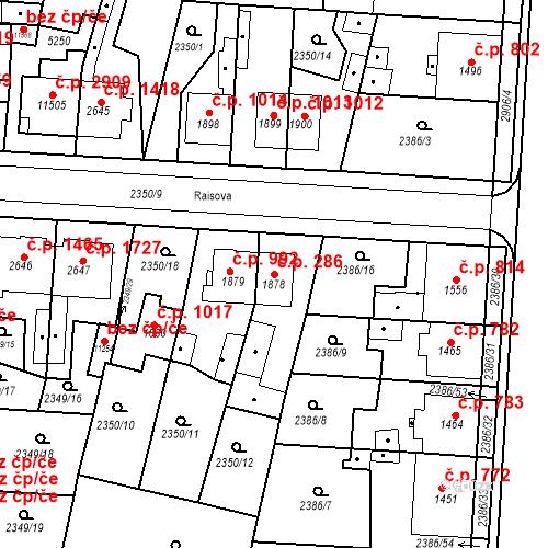Katastrální mapa Stavební objekt Zelené Předměstí 286, Pardubice