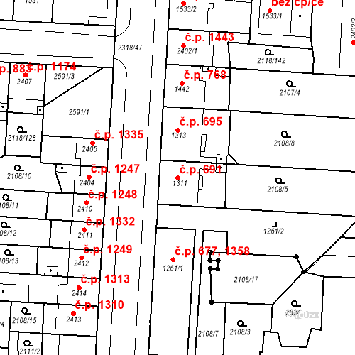 Katastrální mapa Stavební objekt Zelené Předměstí 691, Pardubice