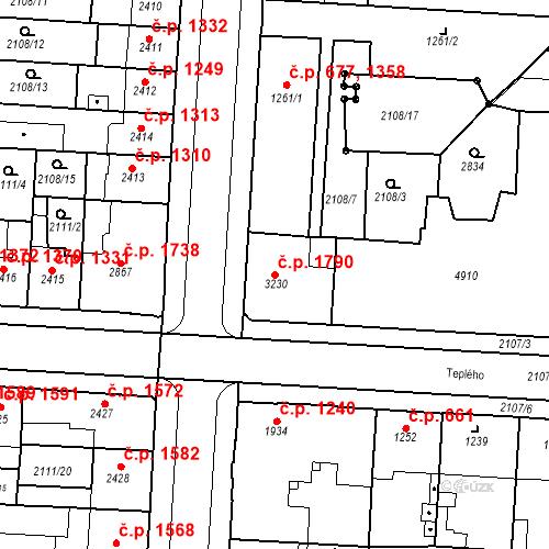 Katastrální mapa Stavební objekt Zelené Předměstí 1790, Pardubice