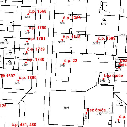 Katastrální mapa Stavební objekt Zelené Předměstí 22, Pardubice