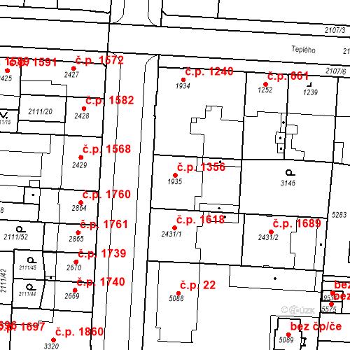 Katastrální mapa Stavební objekt Zelené Předměstí 1356, Pardubice