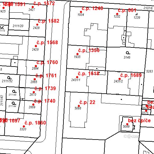 Katastrální mapa Stavební objekt Zelené Předměstí 1618, Pardubice