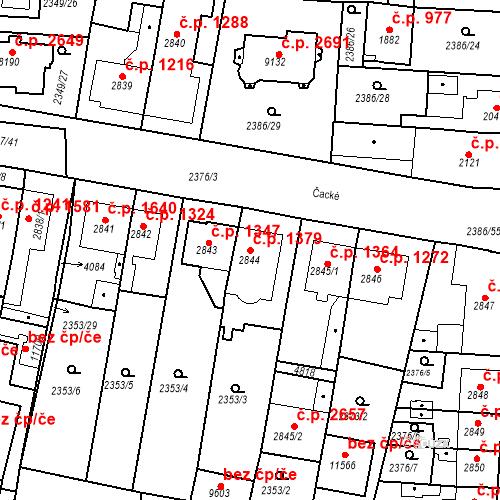 Katastrální mapa Stavební objekt Zelené Předměstí 1379, Pardubice