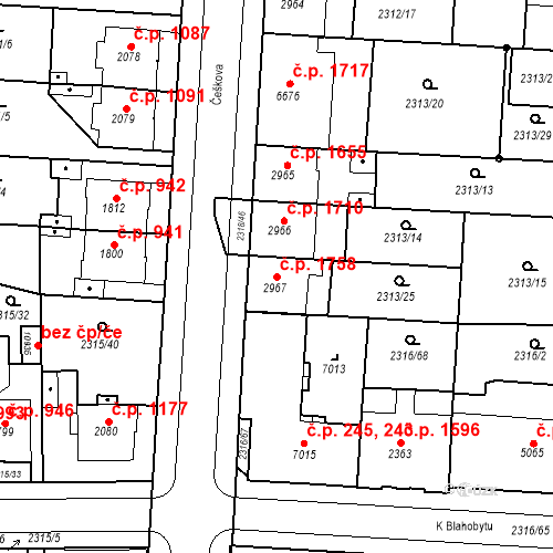 Katastrální mapa Stavební objekt Zelené Předměstí 1758, Pardubice