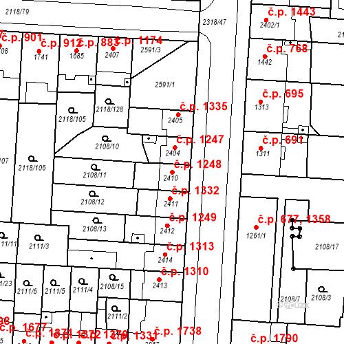 Katastrální mapa Stavební objekt Zelené Předměstí 1248, Pardubice