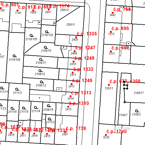 Katastrální mapa Stavební objekt Zelené Předměstí 1332, Pardubice