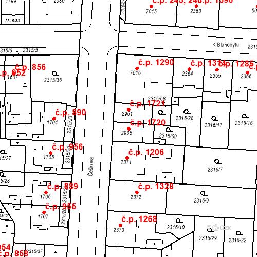 Katastrální mapa Stavební objekt Zelené Předměstí 1720, Pardubice