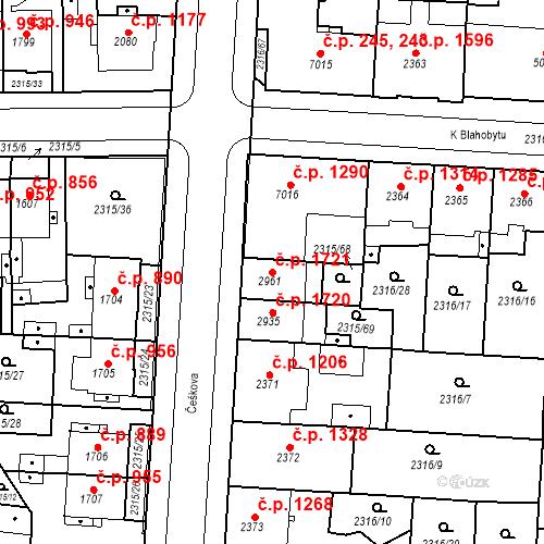 Katastrální mapa Stavební objekt Zelené Předměstí 1721, Pardubice