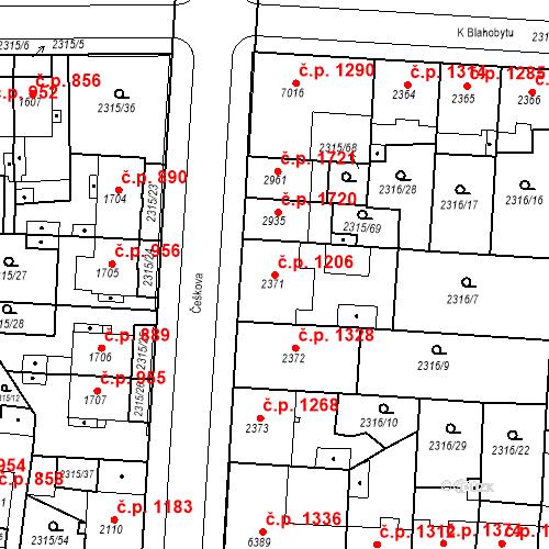 Katastrální mapa Stavební objekt Zelené Předměstí 1206, Pardubice