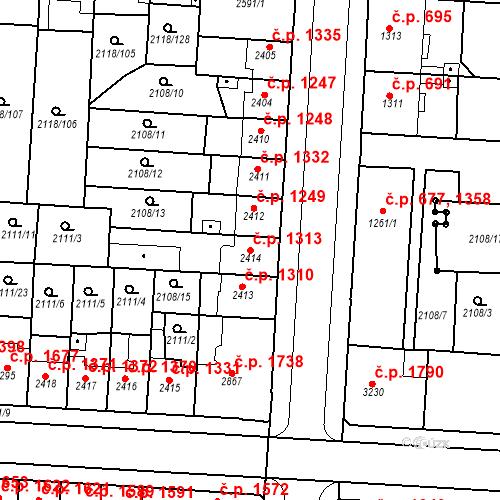 Katastrální mapa Stavební objekt Zelené Předměstí 1313, Pardubice