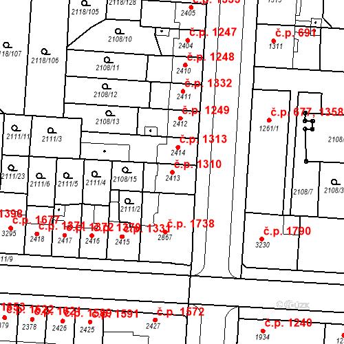 Katastrální mapa Stavební objekt Zelené Předměstí 1310, Pardubice