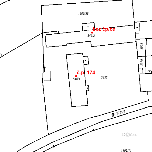 Katastrální mapa Stavební objekt Chrudim IV 174, Chrudim