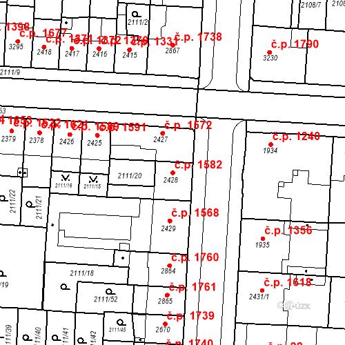Katastrální mapa Stavební objekt Zelené Předměstí 1582, Pardubice