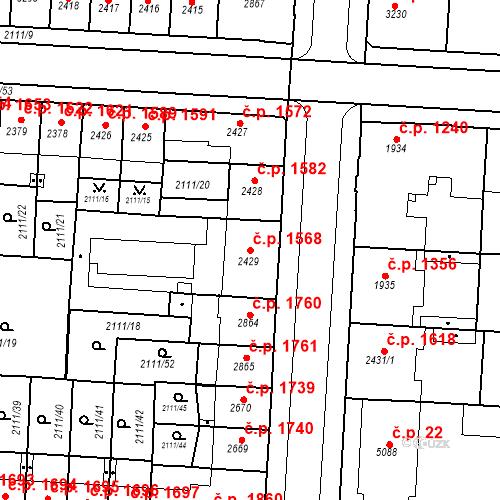 Katastrální mapa Stavební objekt Zelené Předměstí 1568, Pardubice