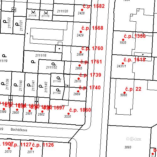 Katastrální mapa Stavební objekt Zelené Předměstí 1739, Pardubice