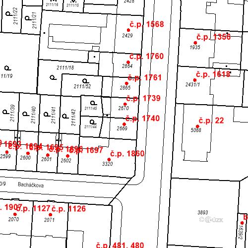 Katastrální mapa Stavební objekt Zelené Předměstí 1740, Pardubice