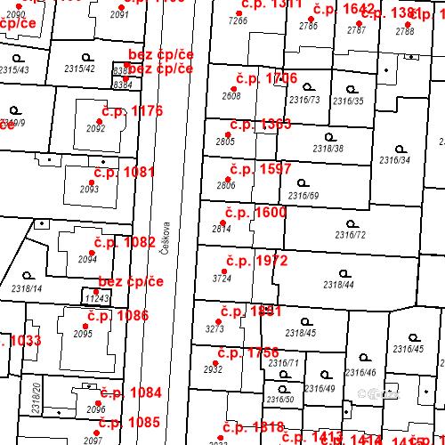 Katastrální mapa Stavební objekt Zelené Předměstí 1600, Pardubice