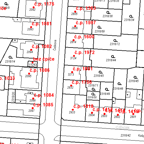 Katastrální mapa Stavební objekt Zelené Předměstí 1851, Pardubice