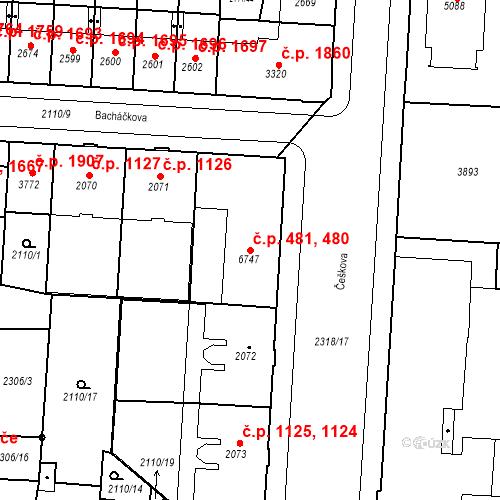Katastrální mapa Stavební objekt Zelené Předměstí 480, 481, Pardubice
