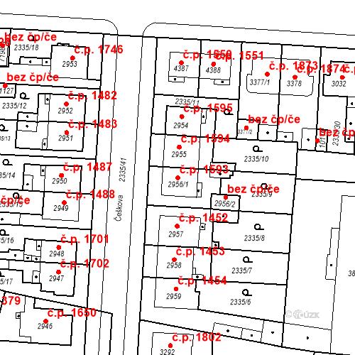 Katastrální mapa Stavební objekt Zelené Předměstí 1593, Pardubice