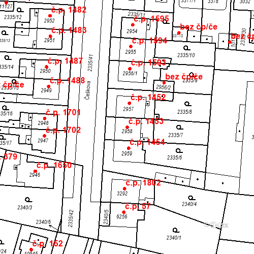 Katastrální mapa Stavební objekt Zelené Předměstí 1453, Pardubice