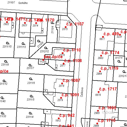 Katastrální mapa Stavební objekt Zelené Předměstí 1108, Pardubice