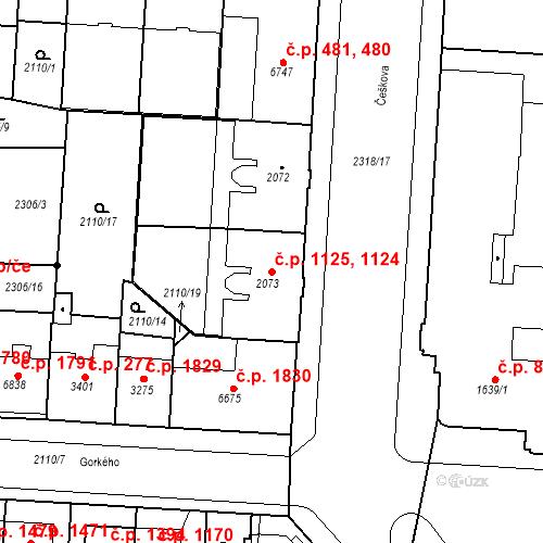 Katastrální mapa Stavební objekt Zelené Předměstí 1124, 1125, Pardubice