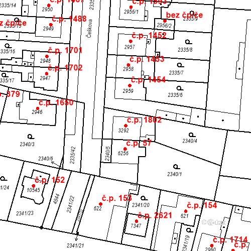 Katastrální mapa Stavební objekt Zelené Předměstí 1802, Pardubice