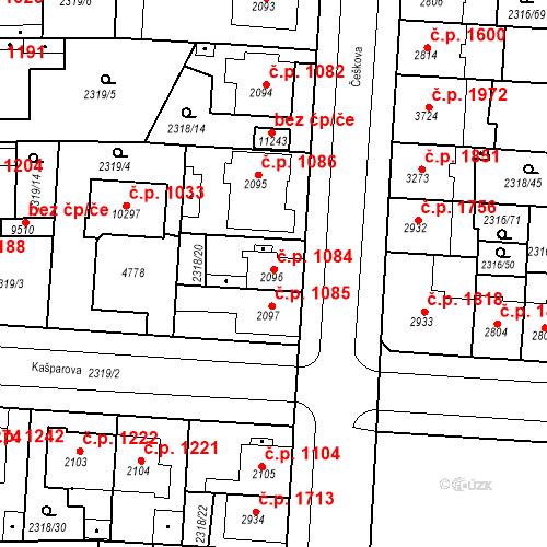 Katastrální mapa Stavební objekt Zelené Předměstí 1084, Pardubice