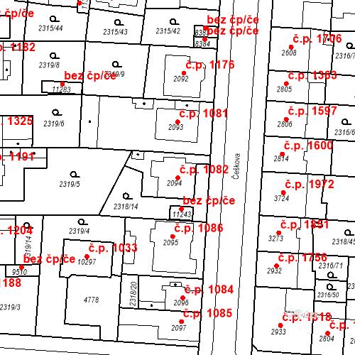 Katastrální mapa Stavební objekt Zelené Předměstí 1082, Pardubice