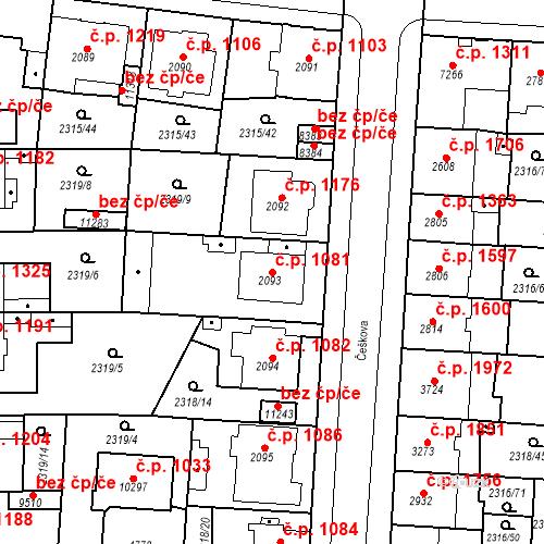 Katastrální mapa Stavební objekt Zelené Předměstí 1081, Pardubice
