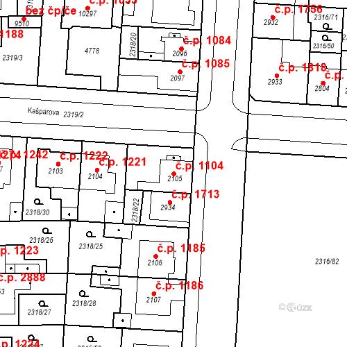 Katastrální mapa Stavební objekt Zelené Předměstí 1104, Pardubice