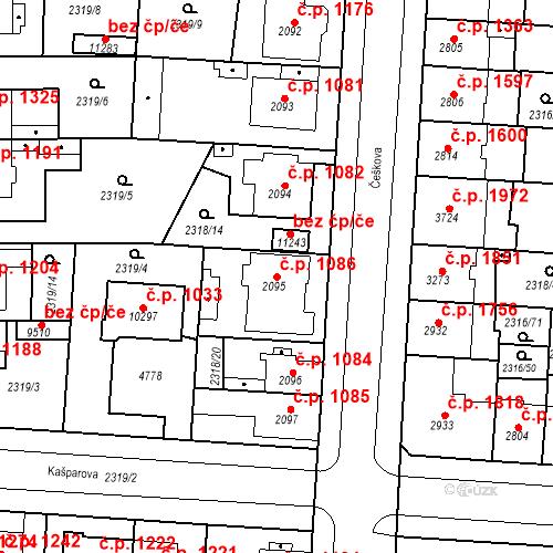 Katastrální mapa Stavební objekt Zelené Předměstí 1086, Pardubice