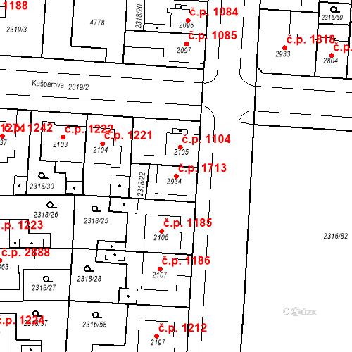 Katastrální mapa Stavební objekt Zelené Předměstí 1713, Pardubice