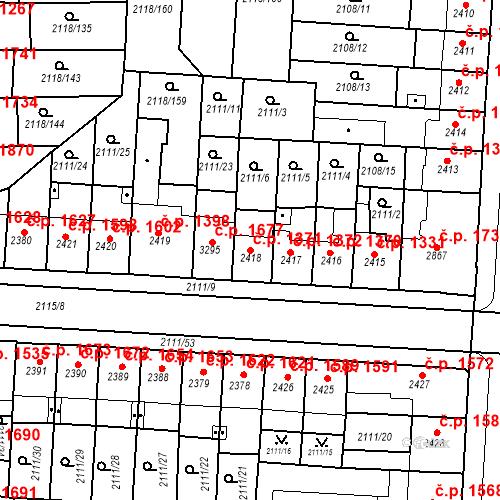 Katastrální mapa Stavební objekt Zelené Předměstí 1371, Pardubice
