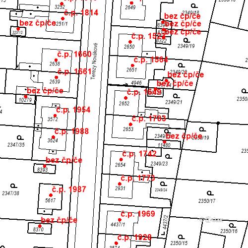 Katastrální mapa Stavební objekt Zelené Předměstí 1703, Pardubice