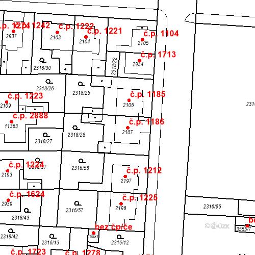 Katastrální mapa Stavební objekt Zelené Předměstí 1186, Pardubice