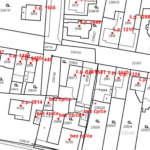 Katastrální mapa Stavební objekt Zelené Předměstí 1241, Pardubice