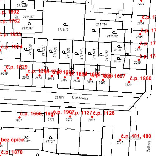 Katastrální mapa Stavební objekt Zelené Předměstí 1695, Pardubice