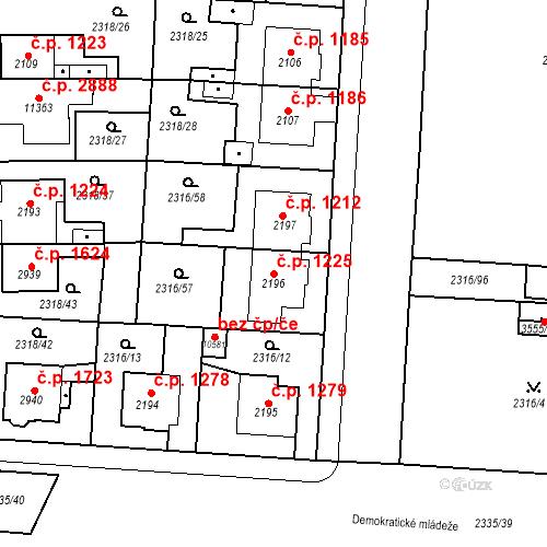 Katastrální mapa Stavební objekt Zelené Předměstí 1225, Pardubice