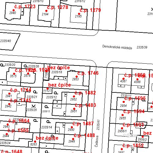 Katastrální mapa Stavební objekt Zelené Předměstí 1746, Pardubice