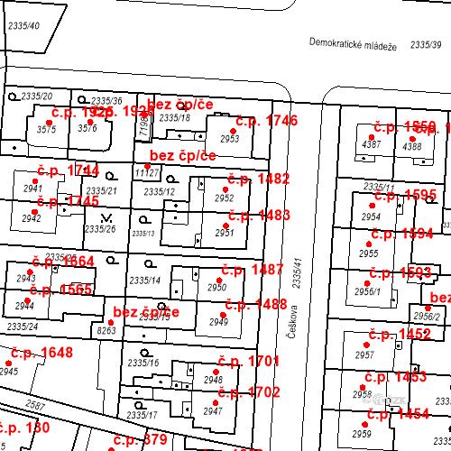 Katastrální mapa Stavební objekt Zelené Předměstí 1483, Pardubice