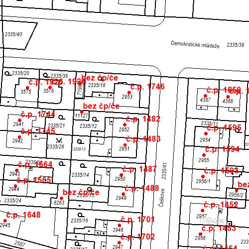 Katastrální mapa Stavební objekt Zelené Předměstí 1482, Pardubice